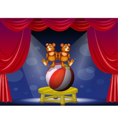 A circus show with two bears vector