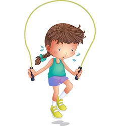 A little girl playing skipping rope vector