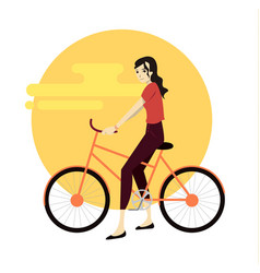 Active young man riding on bicycle vector