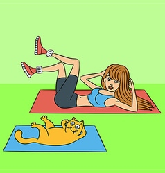 Aerobics with cat exercises green lying down v vector