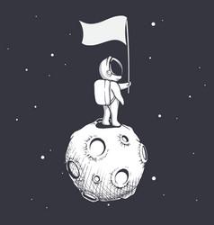Astronaut holds a flag on moon vector