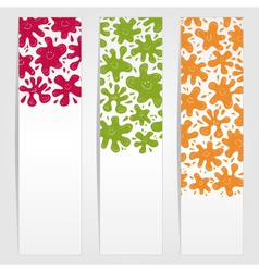 Banners with smiling ink blots vector