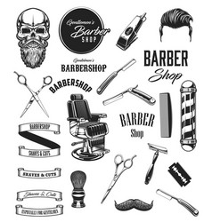barbershop icons mustache and beard barber tools vector image
