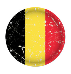 Belgium - round metal scratched flag screw holes vector