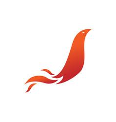 bird tail fire flames element emblem symbol vector image