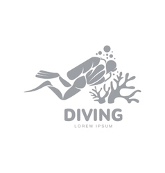 Black and white diving logo template with diver vector image
