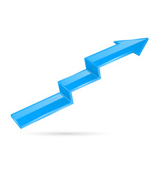 Blue indication arrow moving up 3d financinal vector