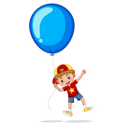 Boy with giant blue balloon vector