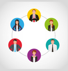 businesspeople teamwork community icons vector image