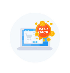 Cashback offer online shopping icon vector