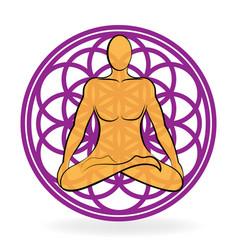 Chakra meditating man vector