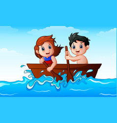 children rowing a boat in the ocean vector image