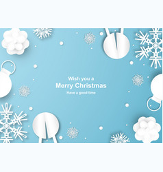 christmas decoration on blue background in paper vector image