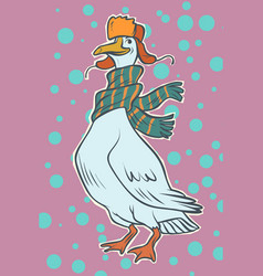 christmas goose in winter hat vector image