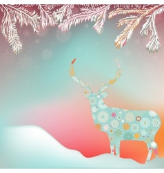 Christmas reindeer card background vector image