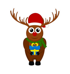 christmas reindeer character holding a present vector image