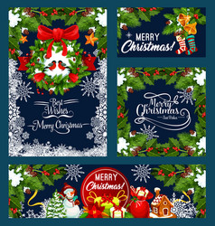 christmas wreath with bell greeting card design vector image