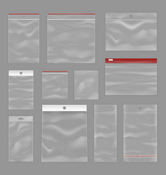Cleartransparent zip bags realistic set vector