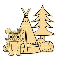 Color bear animal with camp next to bush and pine vector