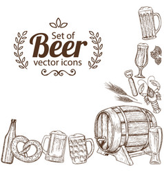 Corner frame beer icons vector