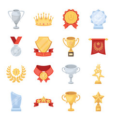 Cup medal pennant and other elements awards vector