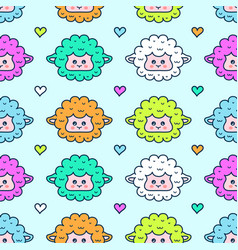 Cute sheep lamb face seamless pattern vector