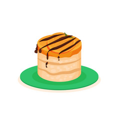 delicious cheesecake with persimmon slice and vector image