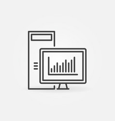 desktop computer with line graph concept vector image