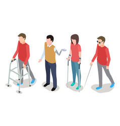 disabled people isometric isolated on white vector image