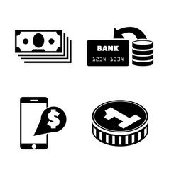 dollar money cash simple related icons vector image