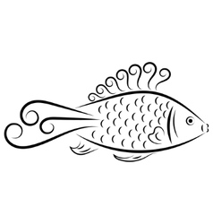 Doodle hand drawn fish vector
