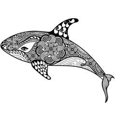 Entangle stylized sea shark hand drawn isolated vector