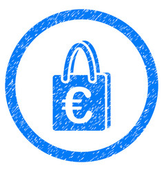 euro shopping bag rounded icon rubber stamp vector image vector image