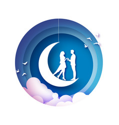 fall in love crescent moon white romantic lovers vector image