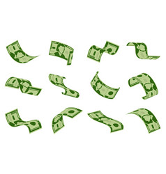 Falling dollars bills cash dollar banknotes rain vector