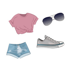 Fashion set with jeans shorts purple top grey vector