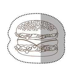 Figure hamburger fast food icon vector