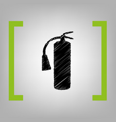 fire extinguisher sign black scribble vector image