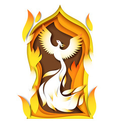 firebird in paper art style vector image