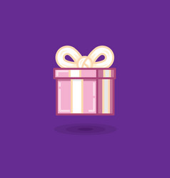 Gift in box with bow on dark vector