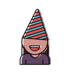 Girl with party hat icon vector
