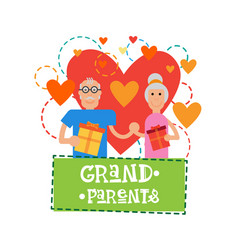 Grandparents couple together happy grandmother vector