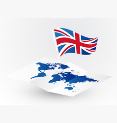 great britain flag on abstract blank world map vector image