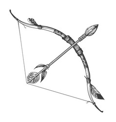 hand drawn bow and arrow vector image