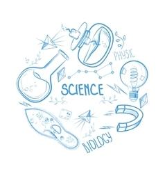 Hand drawn science set Circle design vector image
