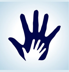 Hand in hand in white and blue as symbol of help vector