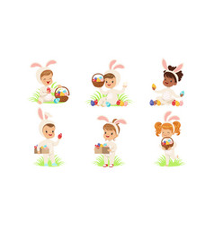 happy easter collection cute little kids vector image