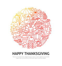 happy thanksgiving circle concept vector image