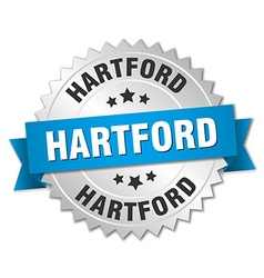 Hartford round silver badge with blue ribbon vector