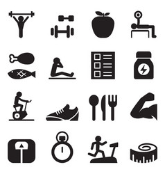 healthy exercise icons set vector image